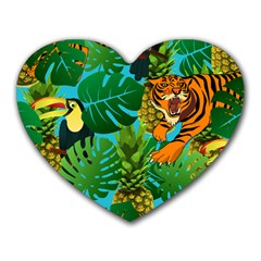 Tropical Pelican Tiger Jungle Blue Heart Mousepads by snowwhitegirl