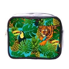 Tropical Pelican Tiger Jungle Blue Mini Toiletries Bag (one Side) by snowwhitegirl