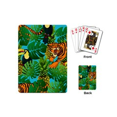 Tropical Pelican Tiger Jungle Blue Playing Cards (mini) by snowwhitegirl
