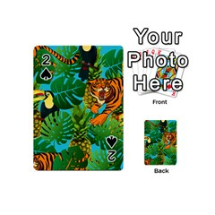 Tropical Pelican Tiger Jungle Blue Playing Cards 54 (mini) by snowwhitegirl