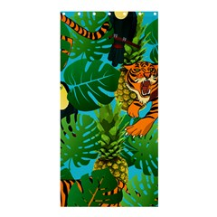 Tropical Pelican Tiger Jungle Blue Shower Curtain 36  X 72  (stall)  by snowwhitegirl