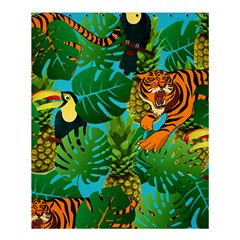Tropical Pelican Tiger Jungle Blue Shower Curtain 60  X 72  (medium)  by snowwhitegirl