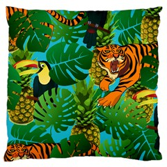 Tropical Pelican Tiger Jungle Blue Large Cushion Case (two Sides) by snowwhitegirl