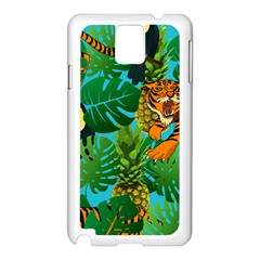 Tropical Pelican Tiger Jungle Blue Samsung Galaxy Note 3 N9005 Case (white) by snowwhitegirl