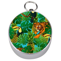 Tropical Pelican Tiger Jungle Blue Silver Compasses by snowwhitegirl
