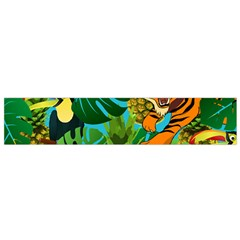 Tropical Pelican Tiger Jungle Blue Small Flano Scarf by snowwhitegirl