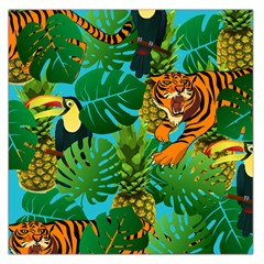Tropical Pelican Tiger Jungle Blue Large Satin Scarf (square) by snowwhitegirl