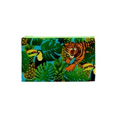 Tropical Pelican Tiger Jungle Blue Cosmetic Bag (xs) by snowwhitegirl