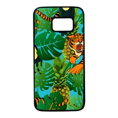Tropical Pelican Tiger Jungle Blue Samsung Galaxy S7 Black Seamless Case