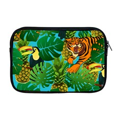 Tropical Pelican Tiger Jungle Blue Apple Macbook Pro 17  Zipper Case by snowwhitegirl
