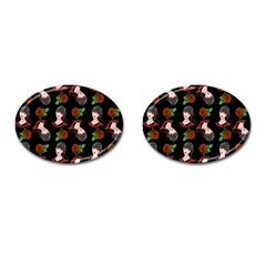 Vintage Flapper Woman Black Cufflinks (oval) by snowwhitegirl