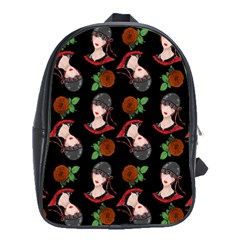 Vintage Flapper Woman Black School Bag (large) by snowwhitegirl