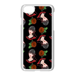Vintage Flapper Woman Black Apple Iphone 8 Seamless Case (white)