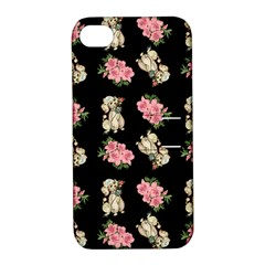 Retro Dog Floral Pattern Apple Iphone 4/4s Hardshell Case With Stand by snowwhitegirl