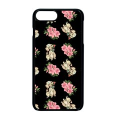 Retro Dog Floral Pattern Apple Iphone 7 Plus Seamless Case (black)
