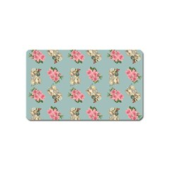 Retro Dog Floral Pattern Blue Magnet (name Card) by snowwhitegirl