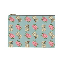 Retro Dog Floral Pattern Blue Cosmetic Bag (large) by snowwhitegirl