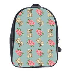 Retro Dog Floral Pattern Blue School Bag (large) by snowwhitegirl