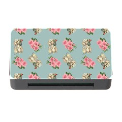 Retro Dog Floral Pattern Blue Memory Card Reader With Cf by snowwhitegirl
