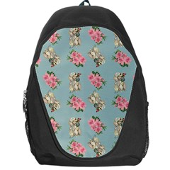 Retro Dog Floral Pattern Blue Backpack Bag by snowwhitegirl
