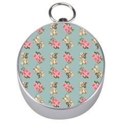 Retro Dog Floral Pattern Blue Silver Compasses by snowwhitegirl
