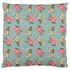 Retro Dog Floral Pattern Blue Large Flano Cushion Case (one Side)