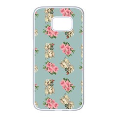 Retro Dog Floral Pattern Blue Samsung Galaxy S7 Edge White Seamless Case