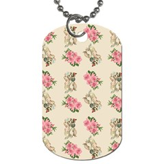 Retro Dog Floral Pattern Ecru Dog Tag (two Sides) by snowwhitegirl
