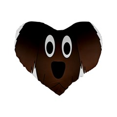 Dog Pup Animal Canine Brown Pet Standard 16  Premium Flano Heart Shape Cushions