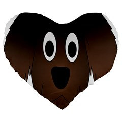 Dog Pup Animal Canine Brown Pet Large 19  Premium Flano Heart Shape Cushions