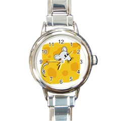 Rat Mouse Cheese Animal Mammal Round Italian Charm Watch by Samandel