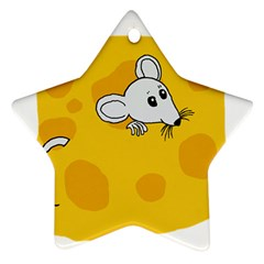 Rat Mouse Cheese Animal Mammal Ornament (star) by Samandel