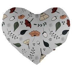 Grey Toned Pattern Large 19  Premium Heart Shape Cushions