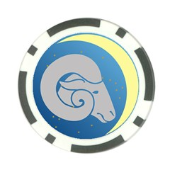 Ram Zodiac Sign Zodiac Moon Star Poker Chip Card Guard