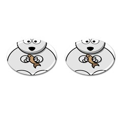 Bear Polar Bear Arctic Fish Mammal Cufflinks (oval) by Samandel
