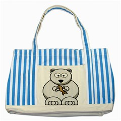 Bear Polar Bear Arctic Fish Mammal Striped Blue Tote Bag by Samandel