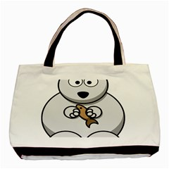 Bear Polar Bear Arctic Fish Mammal Basic Tote Bag (two Sides) by Samandel