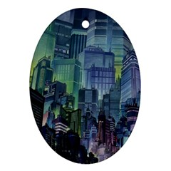 City Night Landmark Oval Ornament (two Sides)