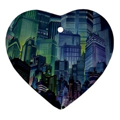 City Night Landmark Heart Ornament (two Sides) by Samandel