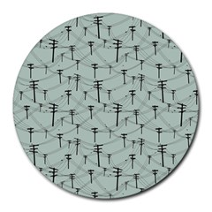 Telephone Lines Repeating Pattern Round Mousepads