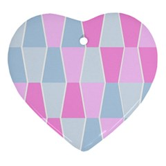 Geometric Pattern Design Pastels Ornament (heart)