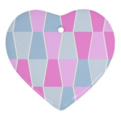 Geometric Pattern Design Pastels Heart Ornament (two Sides) by Samandel