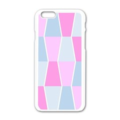 Geometric Pattern Design Pastels Apple Iphone 6/6s White Enamel Case