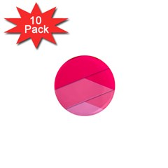 Geometric Shapes Magenta Pink Rose 1  Mini Magnet (10 Pack)