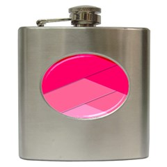 Geometric Shapes Magenta Pink Rose Hip Flask (6 Oz) by Samandel