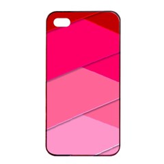 Geometric Shapes Magenta Pink Rose Apple Iphone 4/4s Seamless Case (black) by Samandel