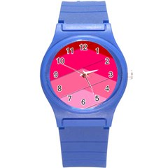 Geometric Shapes Magenta Pink Rose Round Plastic Sport Watch (s)