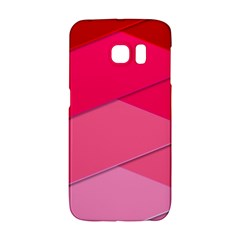 Geometric Shapes Magenta Pink Rose Samsung Galaxy S6 Edge Hardshell Case by Samandel