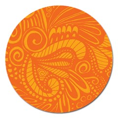 Pop Orange Magnet 5  (round) by ArtByAmyMinori