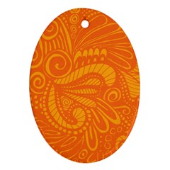 Pop Orange Oval Ornament (two Sides)